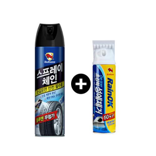 [불스원] 레인OK 성에제거제 400ml + 레인OK 스프레이체인 500ml