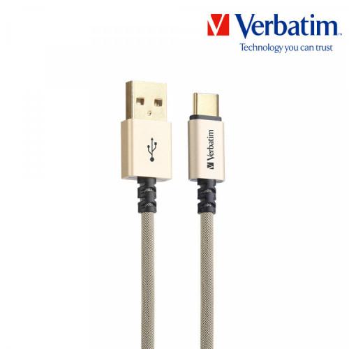 버바팀 메탈릭 Type-USB A to C 22AWG 120cm 고속충전 케이블 그레이,골드